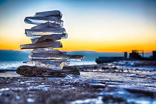 Chicago Ice Cairn 11-29-2013 001 by Michael  Bennett