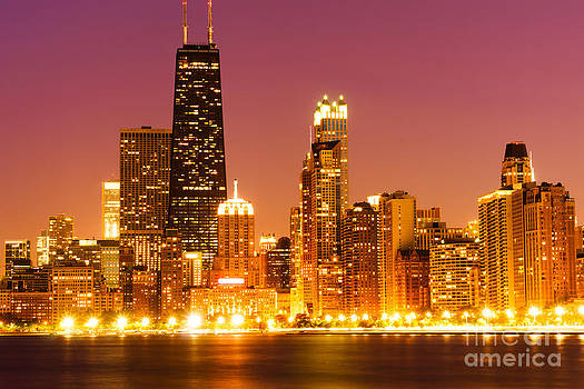 Chicago Night Skyline with John Hancock Building by Paul Velgos