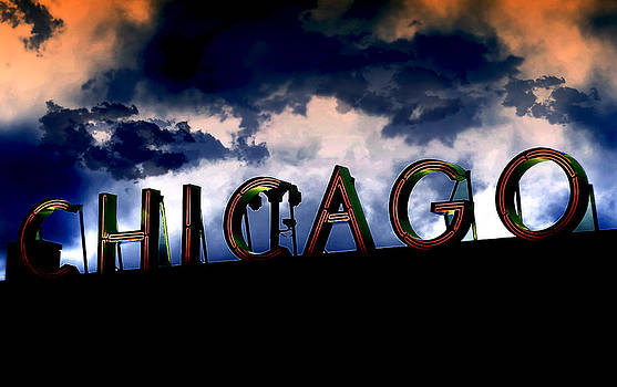Chicago Sign Sunset by Kristie  Bonnewell