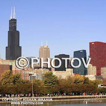 Chicago Skyline and Willis Tower - Limited Edition by Hisham Ibrahim
