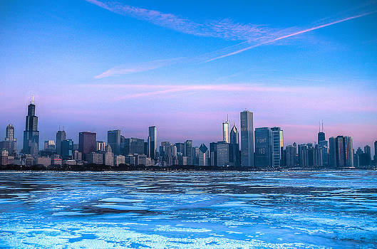 Chicago Skyline at Dawn - Lake Michigan by Michael  Bennett