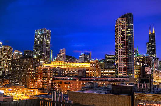 Chicago Skyline at Dusk - Blue Hour Willis Tower by Michael  Bennett