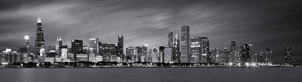 Adam Romanowicz - Chicago Skyline at Night Black and White Panoramic