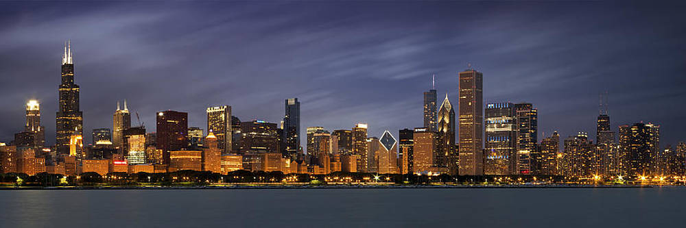Chicago Skyline at Night Color Panoramic by Adam Romanowicz