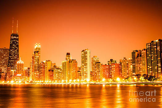 Chicago Skyline at Night with Orange Sky by Paul Velgos
