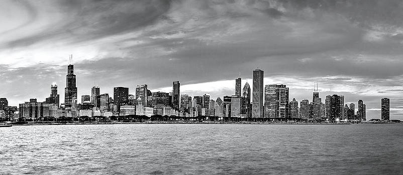 Chicago Skyline Black And White by Patrick  Warneka