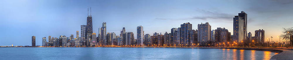 Chicago Skyline Night Panorama by Shawn Everhart