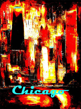 Chicago Skyline Poster - Red Hot Chicago by Kathleen Patrick