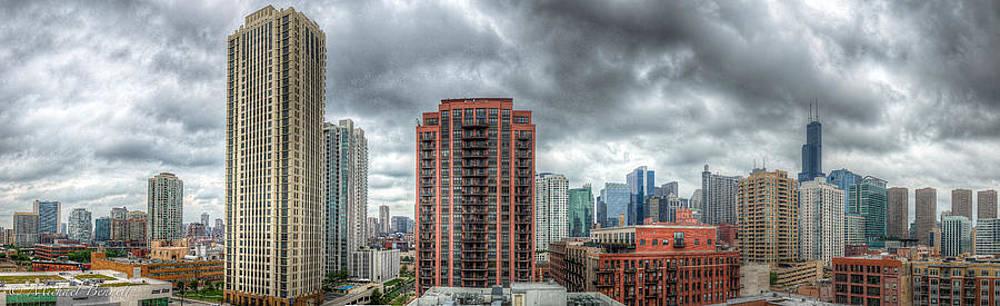 Chicago Skyline - Sears Tower 6 Shot Panorama by Michael  Bennett