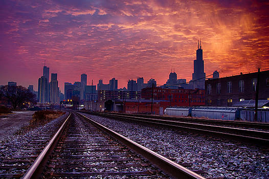 Chicago Skyline Sunrise December 1 2013 02 by Michael  Bennett