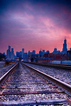 Chicago Skyline Sunrise December 1 2013 by Michael  Bennett