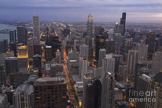 Chicago skyline the Blue hour by Linda Matlow