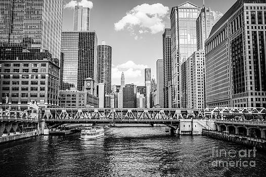 Chicago Wells Street Bridge Black and White Picture by Paul Velgos