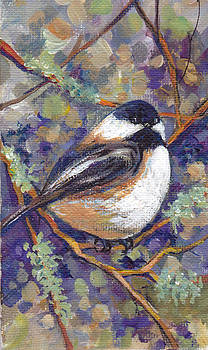 Peggy Wilson - Chickadee with mossy Branches