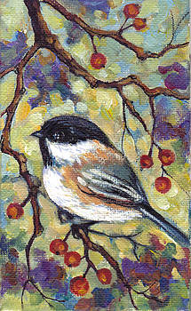 Peggy Wilson - Chickadee with Red Berries