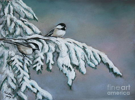 Chickadees in the Snow by Charlotte Yealey