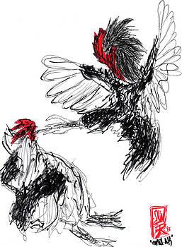 Chicken Fight-Abstract  by Willhemus Ardylles