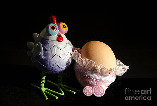 Chicken with her baby egg by Victoria Herrera