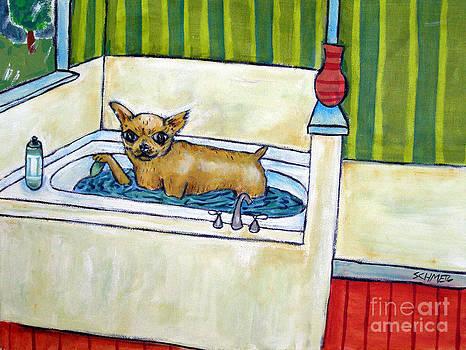 Chihahua Dog art PRINT poster gift JSCHMETZ modern folk bathroom bath by Jay  Schmetz