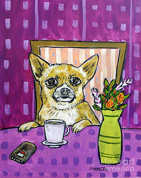 Chihuahua at the Cafe by Jay  Schmetz