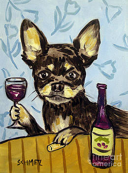 Chihuahua at the Wine Bar by Jay  Schmetz