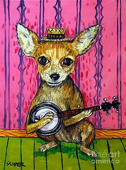 Chihuahua Dog art PRINT poster gift JSCHMETZ modern folk Banjo by Jay  Schmetz