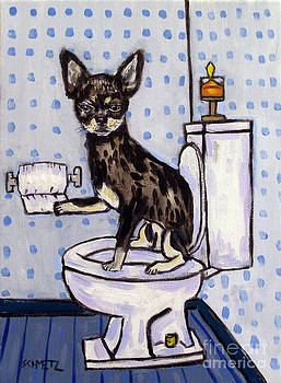Chihuahua in the Bathroom by Jay  Schmetz