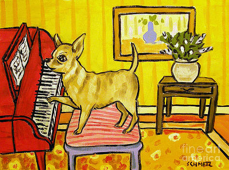 Chihuahua Playing Piano by Jay  Schmetz
