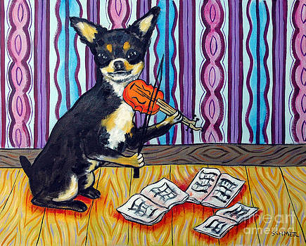 Chihuahua Playing the Violin by Jay  Schmetz