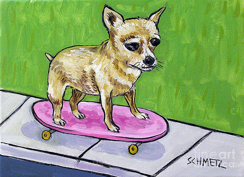 Chihuahua Riding a Skateboard by Jay  Schmetz