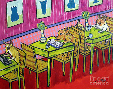 Chihuahuas at the Coffee Shop by Jay  Schmetz