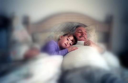 Linda Rae Cuthbertson - Child Napping With Grandpa