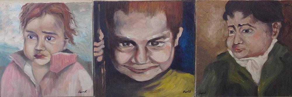 Childhood Triology  by Farid  Fakhriddin 30x90 cm