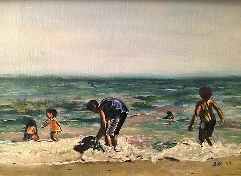 Children at the Beach by Victor SOTO