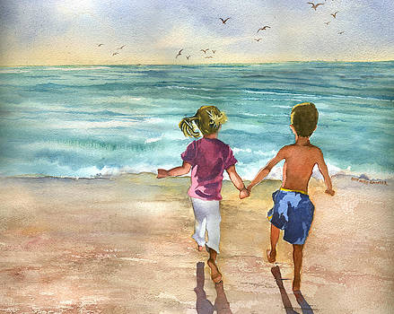 Children on the Beach at Sunset by Beth Kantor