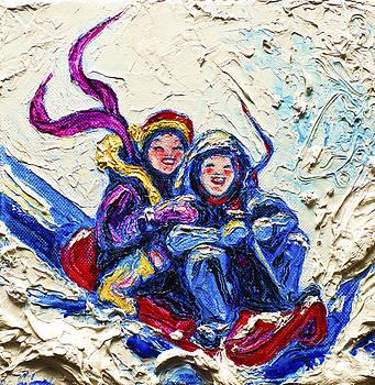 Children Sledding in the Snow by Paris Wyatt Llanso