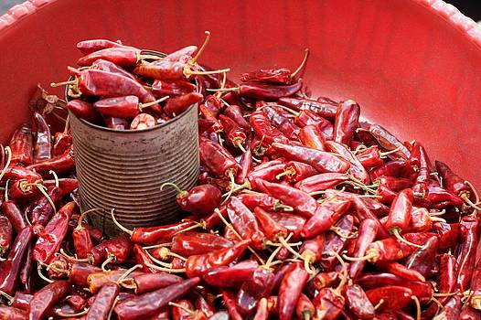 Chilis in the market by Linda Russell