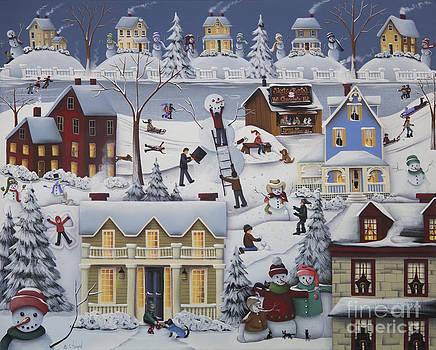 Chimney Smoke and Cheery Snow Folk by Catherine Holman