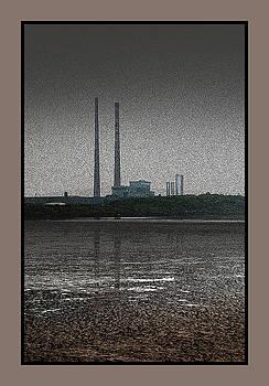 Chimneys of Ringsend Power-station across Dublin Bay. by Frank Gaffney
