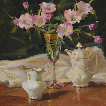 China and Primroses by Judy Crowe