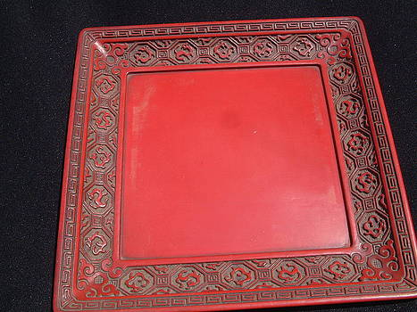 Chinese cinnabar carved lacquer rectangular tray decorated with dragons by Anonymous artist