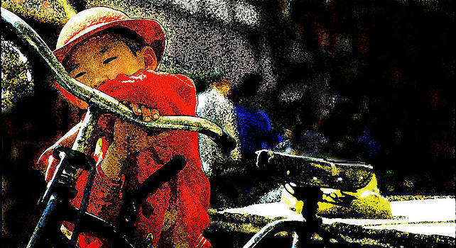 Chinese girl and bike by Daniel Bonnell