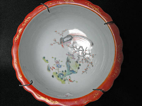 Chinese porcelain bowl decorated with phoenix bird on a blooming tree branch by Ceramic artist