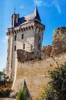 Chinon Clock Tower and Ruins by Kirk Strickland