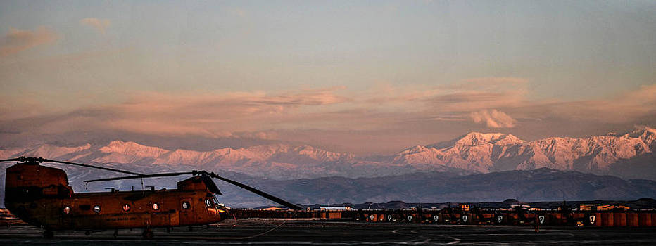 Chinook in the mountains of Afghanistan by Joshua Burcham