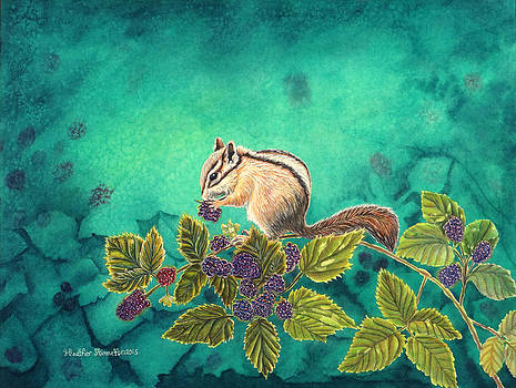 Chipmunk in Blackberry Brambles by Heather Stinnett