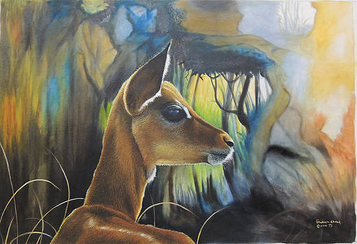 Chital Oil on Canvas  by Hukam Chand Wildlife artist