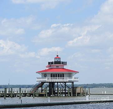 Choptank River Lighthouse on the Chesapeake Bay in Cambridge by Debbie Nester