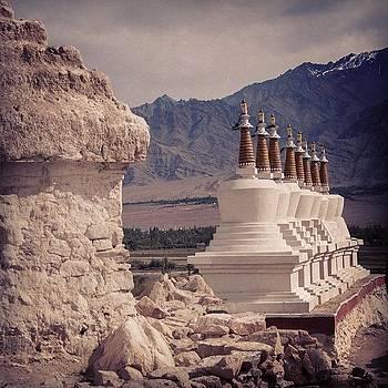 Chortens at Thiksey Monastery by Hitendra SINKAR