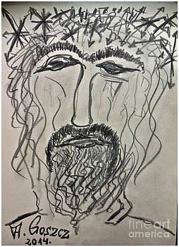 Christ in Distress. Pensive Christ. Chrystus Frasobliwy. by Andrzej Goszcz. by  Andrzej Goszcz